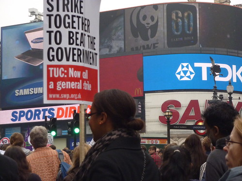 Marching through Piccadilly Circus