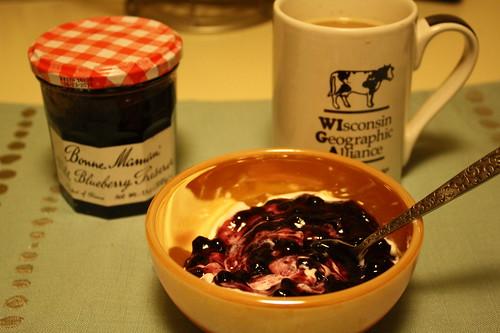 jam (wild blueberry preserves), Chobani non-fat greek yogurt, coffee