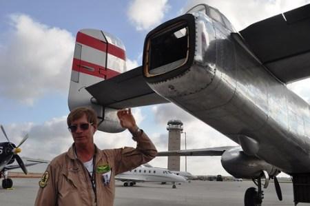 DAV Flight Crew Member Syd Jones Explains Photo Op at End of DAV's B-25 Bomber, Panchito