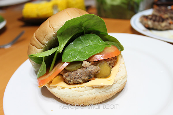 Home made burger meal