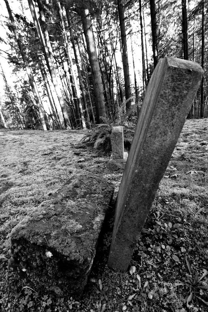 Tilted gravestone