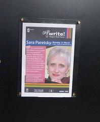 Sara Paretsky poster for Aye Write!