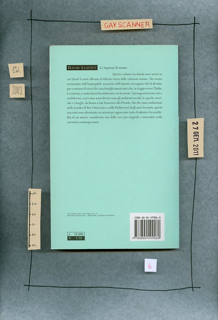 David Leavitt, La trapunta di marmo, Mondadori 2001. Quarta di copertina.