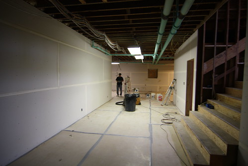 Basement with drywall