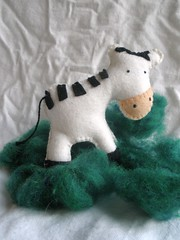Felt Zebra on Green Wool