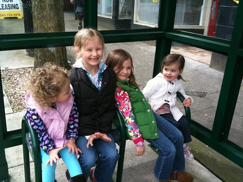 cousins at the bus stop