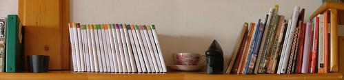 some cook book shelves