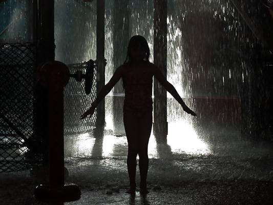 The big one silhoutted against falling water.