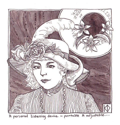 Listening device - a Victorian lady wears a flowered hat with a metal horn angled towards her ear