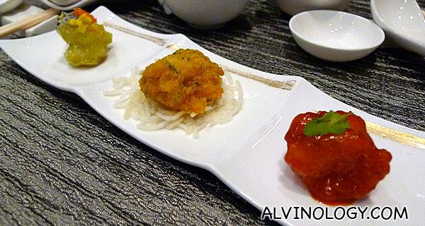 前菜~ 锦绣虾球(糖醋虾球+芥末虾球+咸蛋虾球) - I particularly enjoyed the salted egg version in the middle