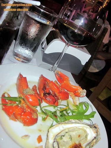 crabs, oysters and red wine
