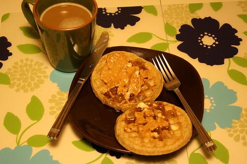 coffee, eggo whole wheat waffles, peanut butter