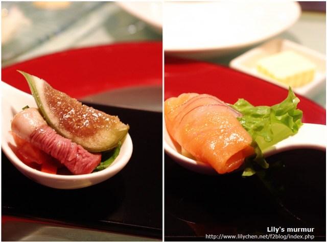 左邊是無花果佐煙燻鴨胸,右邊是煙燻生鮭魚。