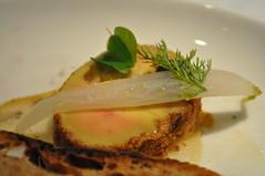 Cold: Smoked foie gras, black sesame, smoked golden raisin