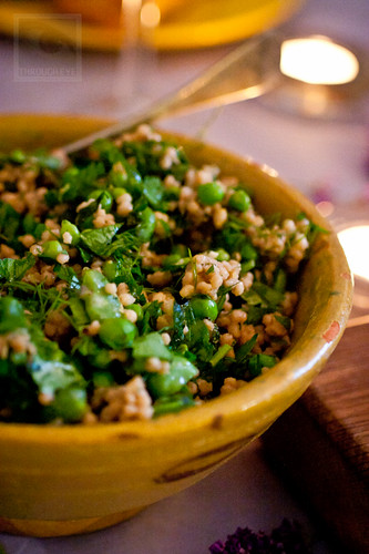 Palestinian couscous with broad beans, peas, mint & lemon
