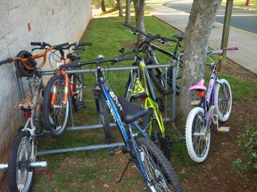 Full bike rack at Crozet Elementary