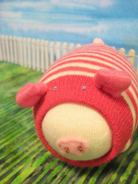 Pink and White stripped Sock pig