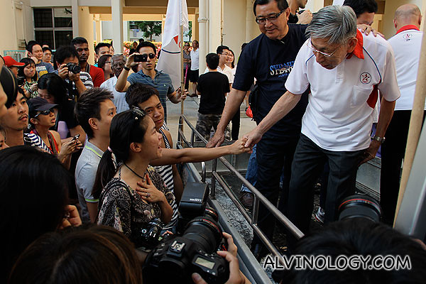 Mr Chiam greeting supporters