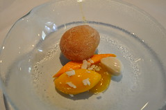 Pre-dessert: doughnut with alphonso mango sorbet and coconut