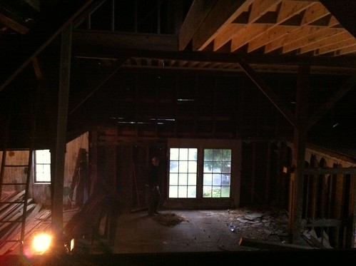 pulled down part of the hayloft.