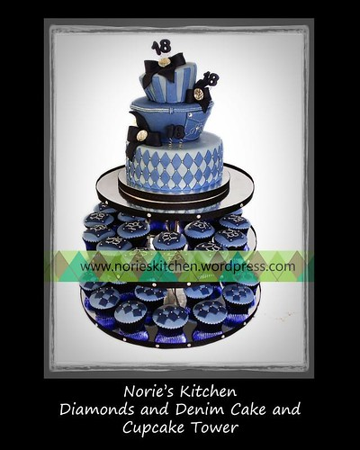 Norie's Kitchen - Diamonds and Denim Debut Cake - Cupcake Tower