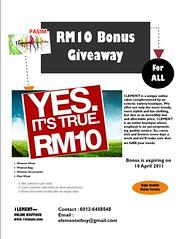 1lement RM10 Bonus Giveaway 23 Mar - 10 Apr 2011