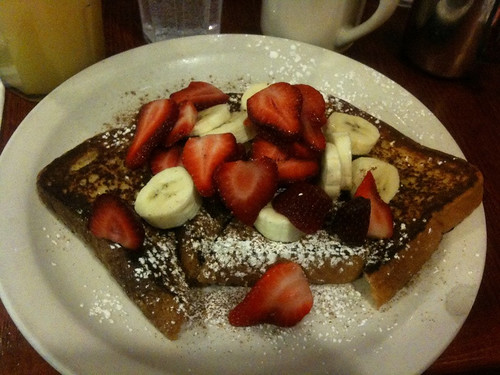 Challah French Toast with Strawberries and Bananas at Igloo Cafe