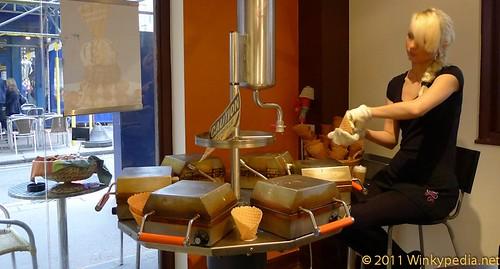 rotating waffle device in action at Kula