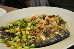 Mains: Charcoal grilled bream with cucumber, chilli and tarragon salad and warm mixed grains