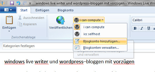 Windows Live Writer - Blogkonto hinzufügen