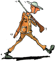 Soldier marching illustration