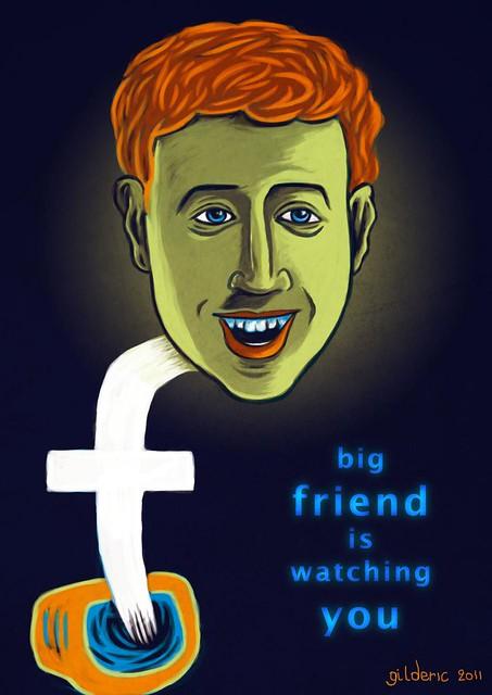 Mark Zuckerberg (Big Friend is Watching You) - Caricature par Gilderic