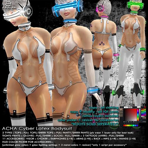 + ezura + ACHA Cyber Latex Bodysuit *White