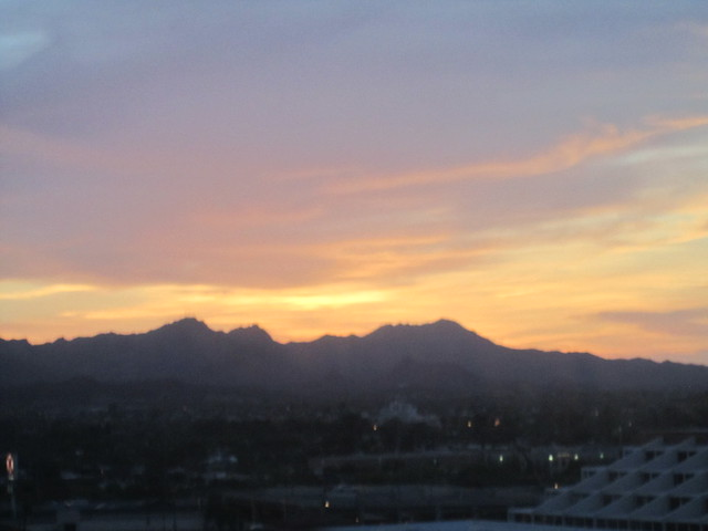 The sunset from my room at Hotel Arizona