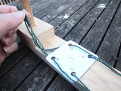 Warping up for tablet weaving