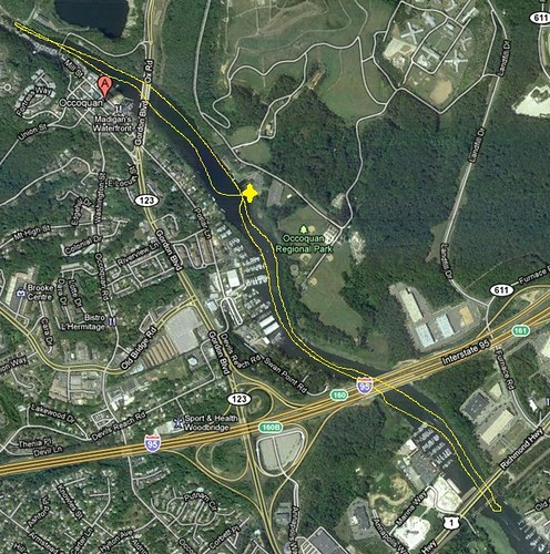 Kayaking Occoquan River - Route - Marked Up and Cropped