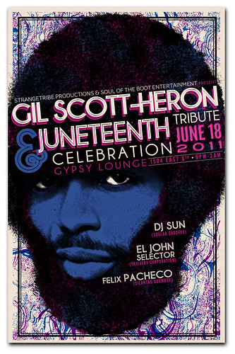 Gigposter for Gil Scott-Heron Tribute and Juneteenth Celebration.