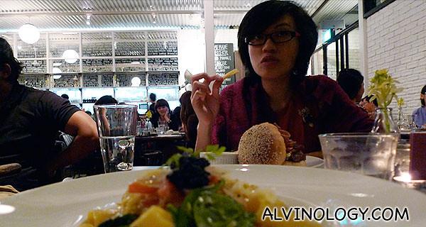 Rachel enjoying her food