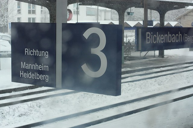 DeutscheBahn RB train snow Bickenbach Germany
