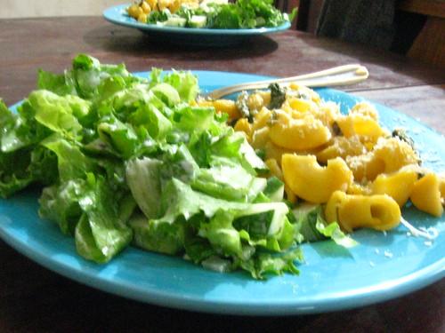 Salad and pumpkin pasta