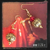 LNDORE orecchini rossi dorati golden red earrings 1129