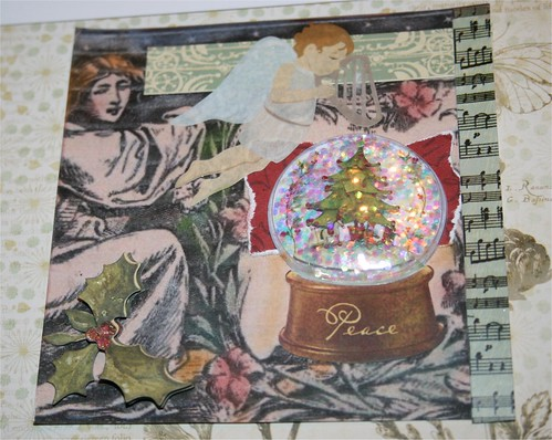 "Angels and Peace Snowglobe 4"" x 4"" Collage Card"