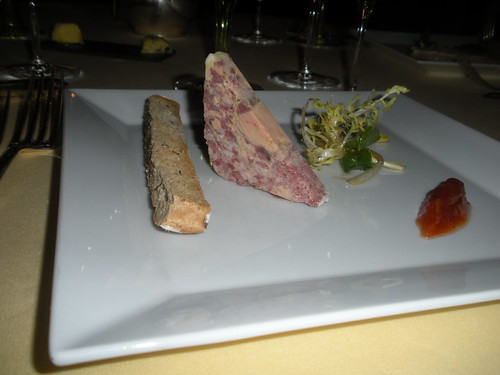 House made game terrine with foie gras, green tomato jam with giner and orange, toasted country bread