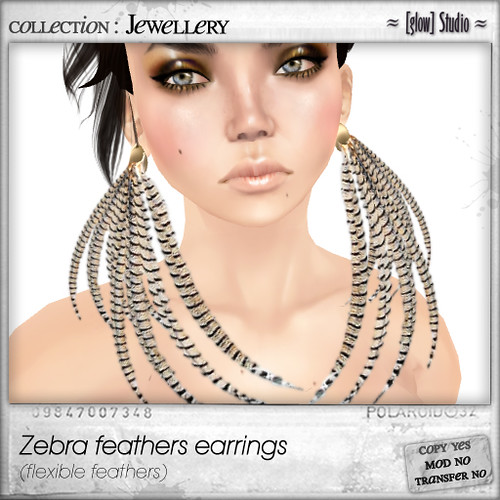 [ glow ] studio - zebra feathers earrings