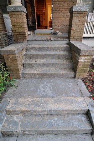 Front steps half-stripped