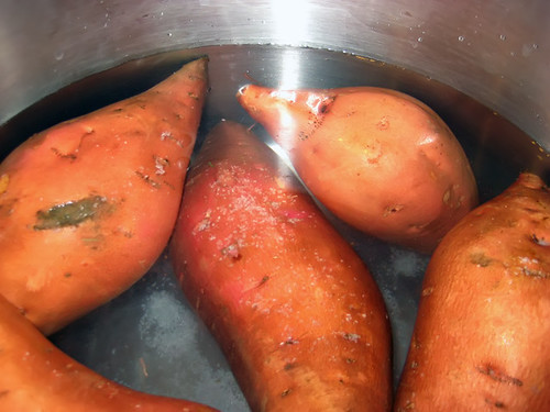 Yams in boiling water