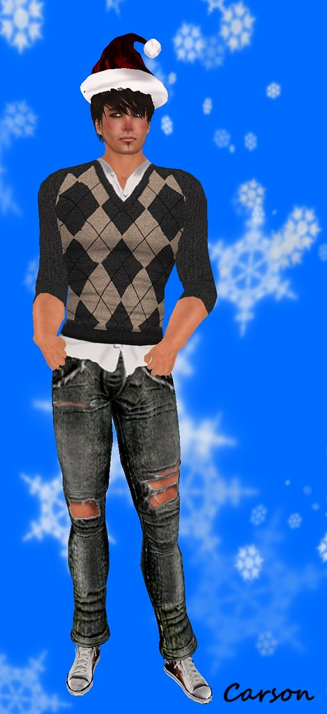 MHOH5 - #47 - Poison Jeans  MHOH5 - #70 - Shey Fashion Argyle Sweater  Grey Tan