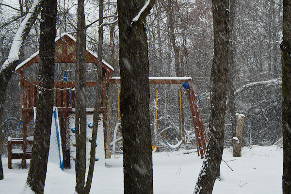 The kids playset - in the midst of a snowstorm - appears to be closed for the season.