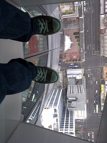 The glass floor in the skytower, Auckland