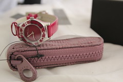 Fuchsia Watch and Lavender Wallet